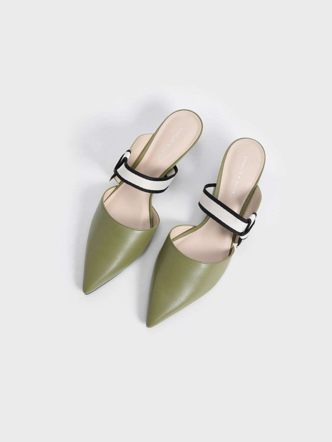 Knotted Fabric Strap Pointed Mules, Olive, hi-res