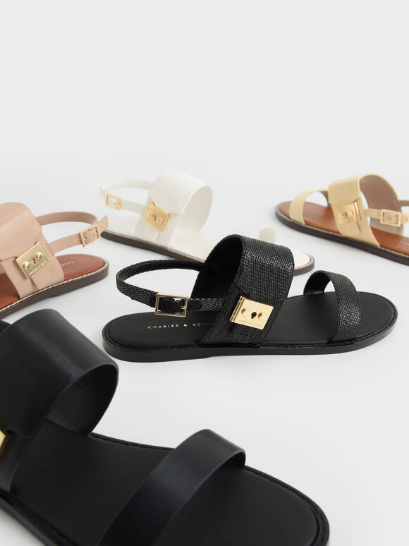 Raffia Metallic Buckle Sandals, Black Textured, hi-res