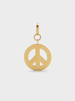 Gold Peace Symbol Keychain, Gold