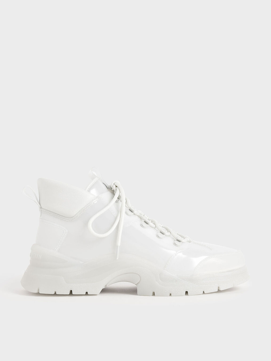 Chunky High Top Sneakers, White, hi-res