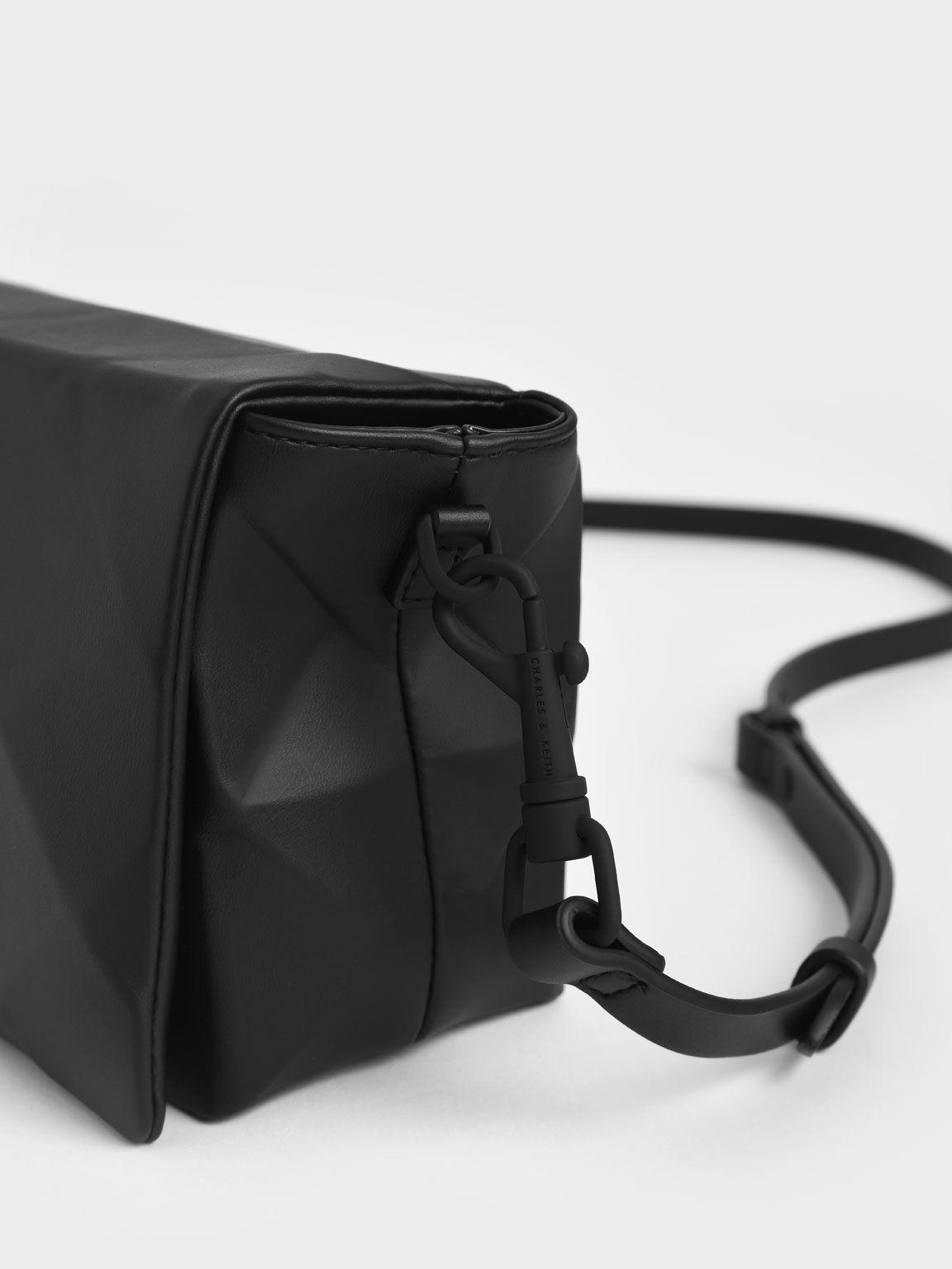 Geometric Crossbody Bag, Black, hi-res