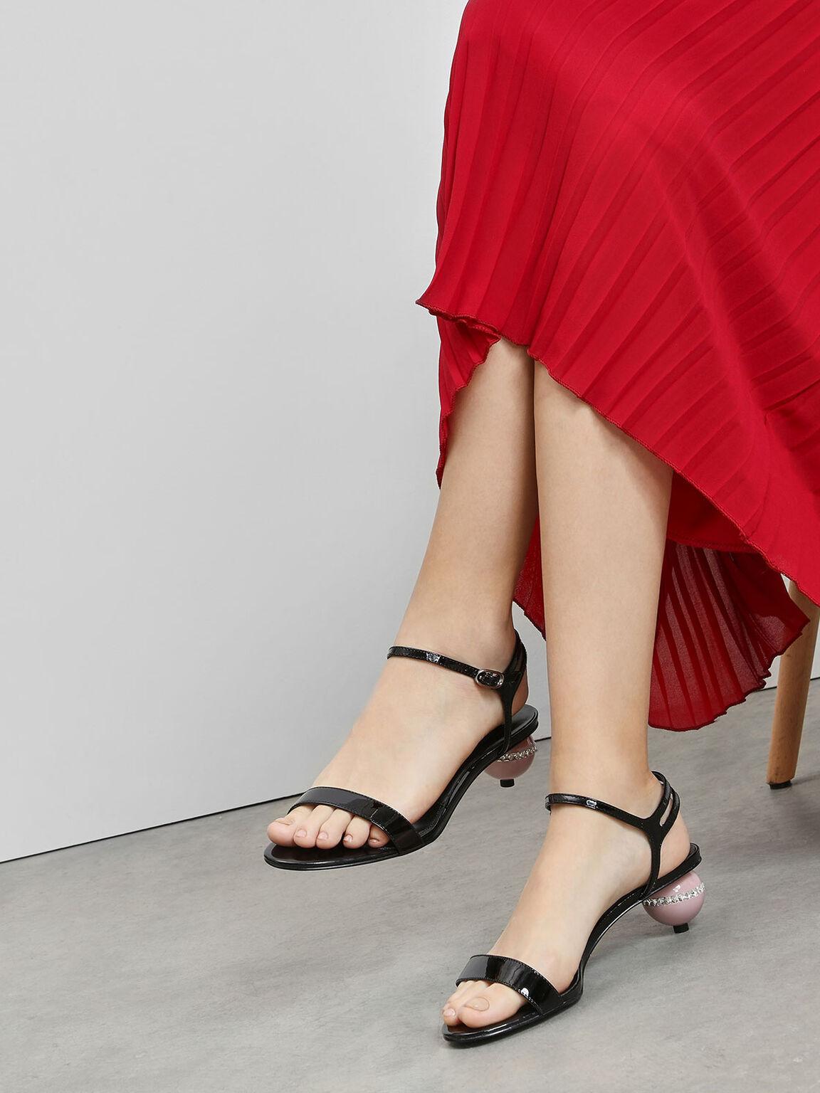 Leather Spherical Heel Sandals, Black, hi-res
