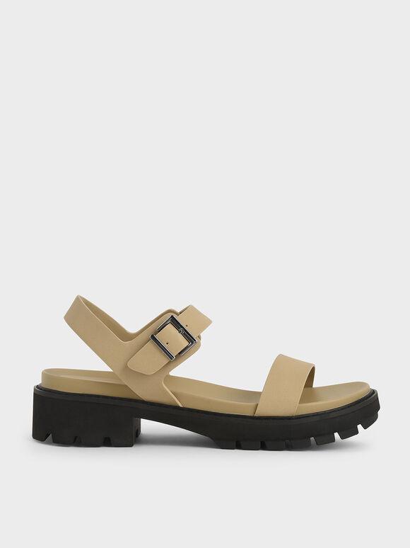 Ankle Strap Sandals, Beige, hi-res