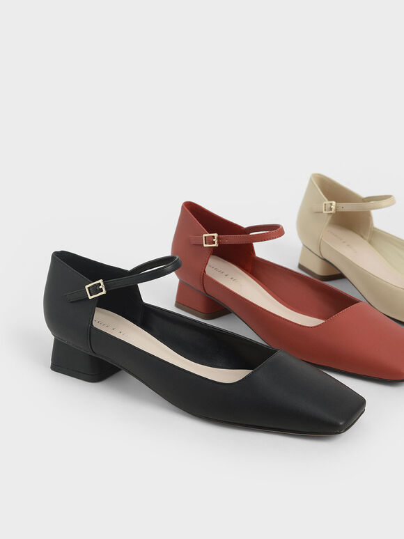 Square Toe Ankle Strap Pumps, Brick, hi-res