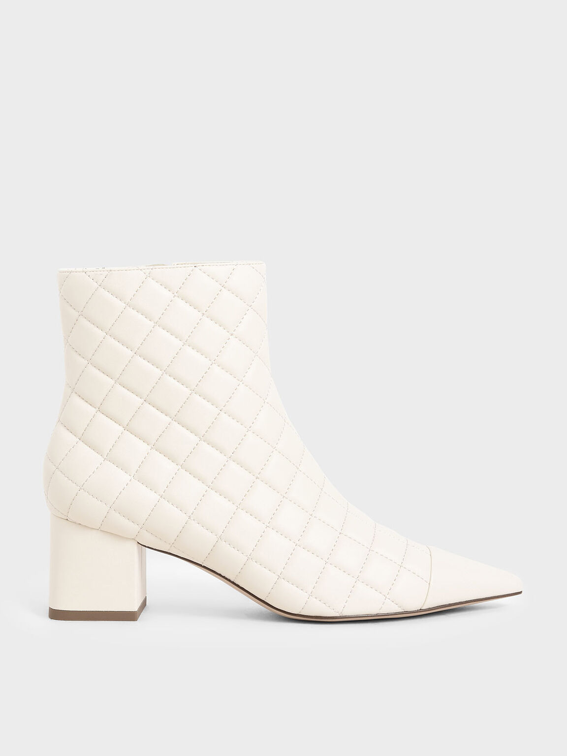 Quilted Ankle Boots, Chalk, hi-res