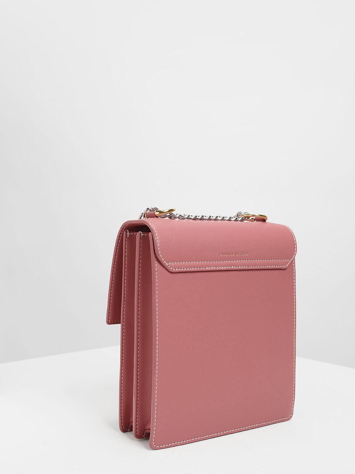 Chain Strap Portrait Messenger Bag, Pink, hi-res