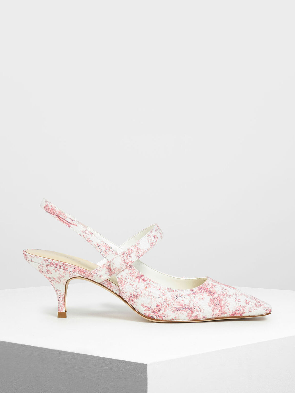 Printed Square Toe Mary Jane Slingback Heels, Pink, hi-res