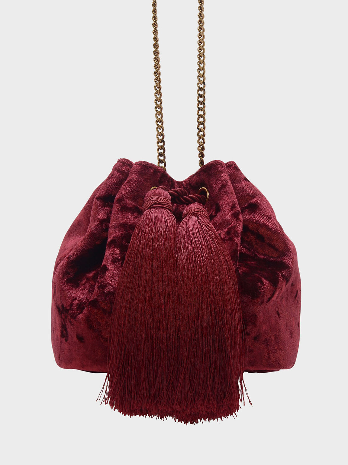 Tassel Drawstring Bag, Red, hi-res