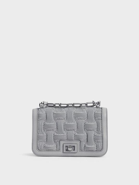 Textured Chain Handle Crossbody Bag, Grey, hi-res