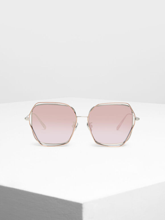 Double Rim Geometric Sunglasses, Rose Gold, hi-res