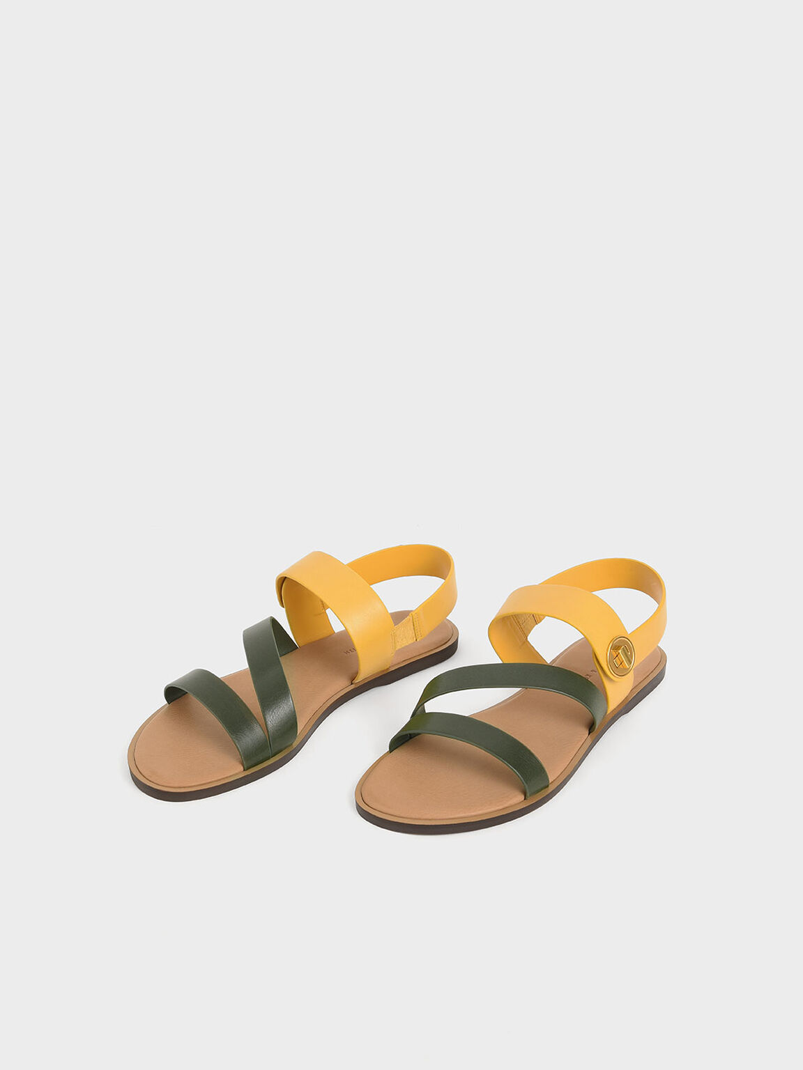 Asymmetrical Strappy Sandals, Mustard, hi-res