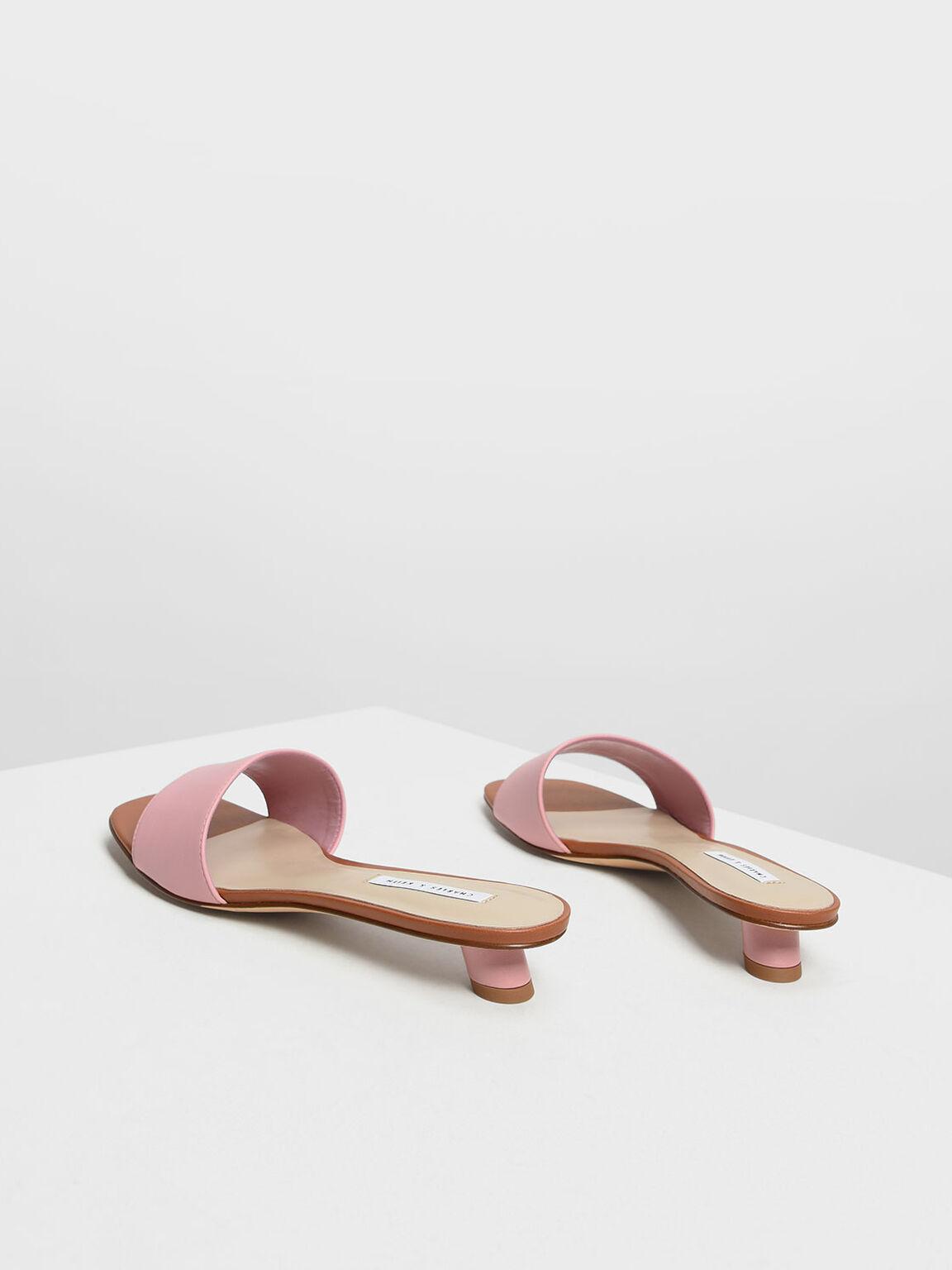 Classic Heeled Slide Sandals, Pink, hi-res