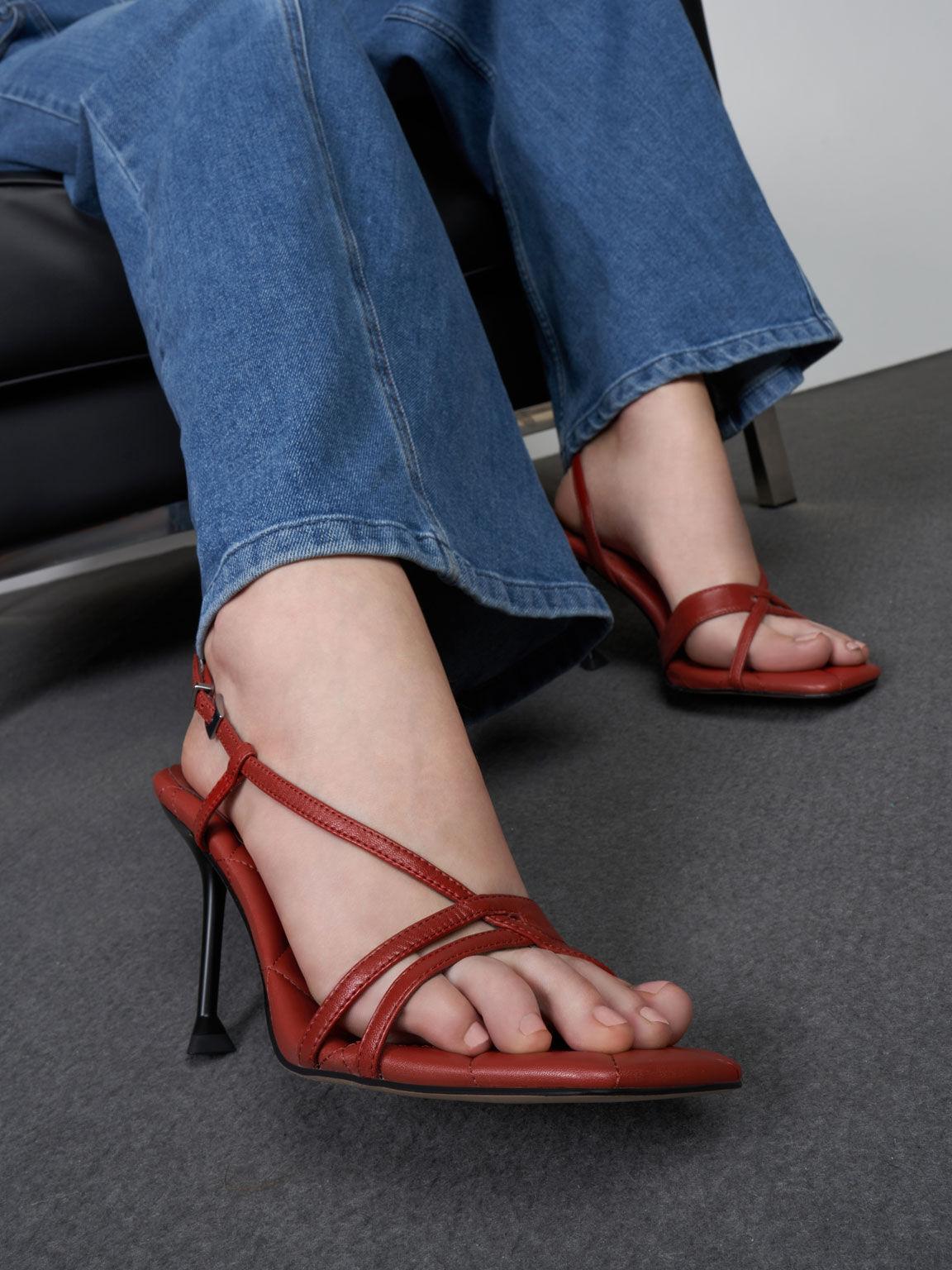 Leather Sculptural Heel Sandals, Brick, hi-res
