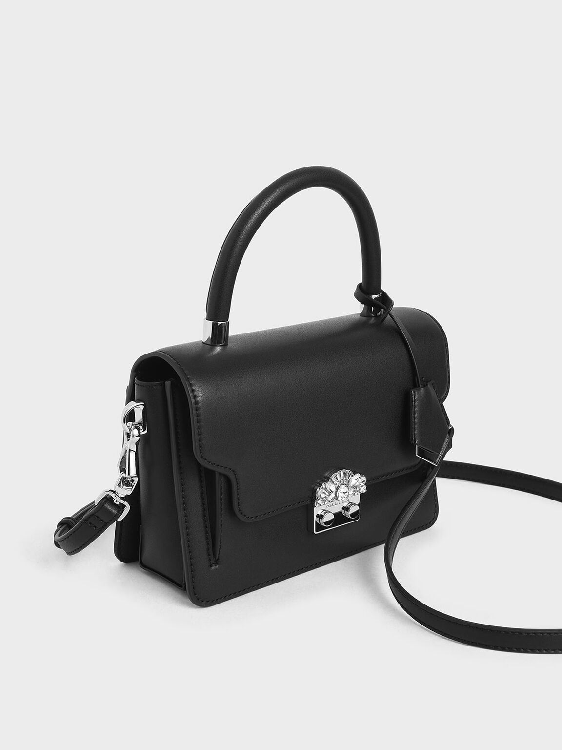 Metal Buckle Top Handle Bag, Black, hi-res