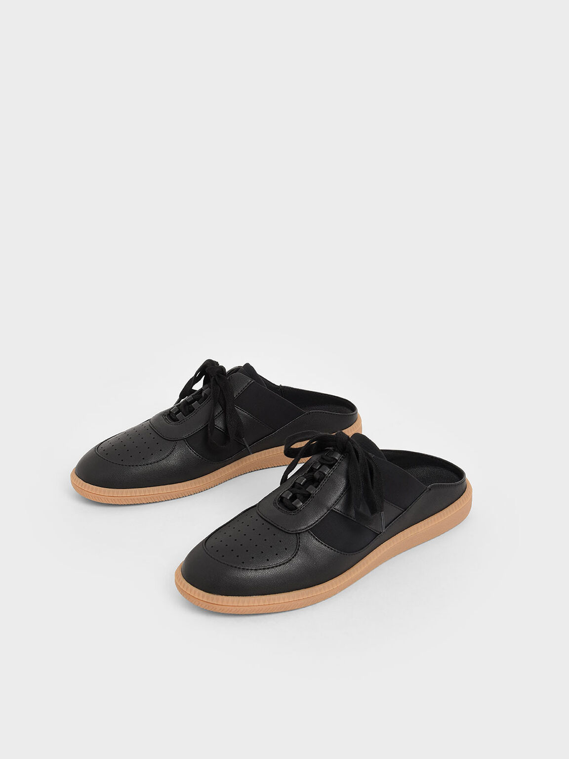 Lace Up Sneaker Mules, Black, hi-res