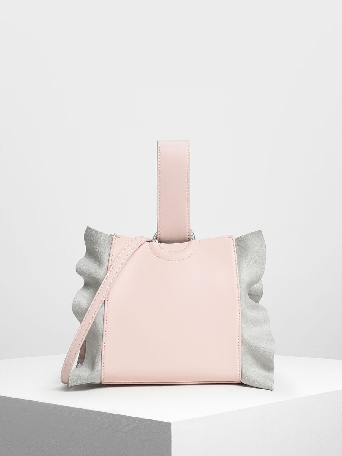 Ruffle Detail Wristlet Handle Bag, Pink, hi-res