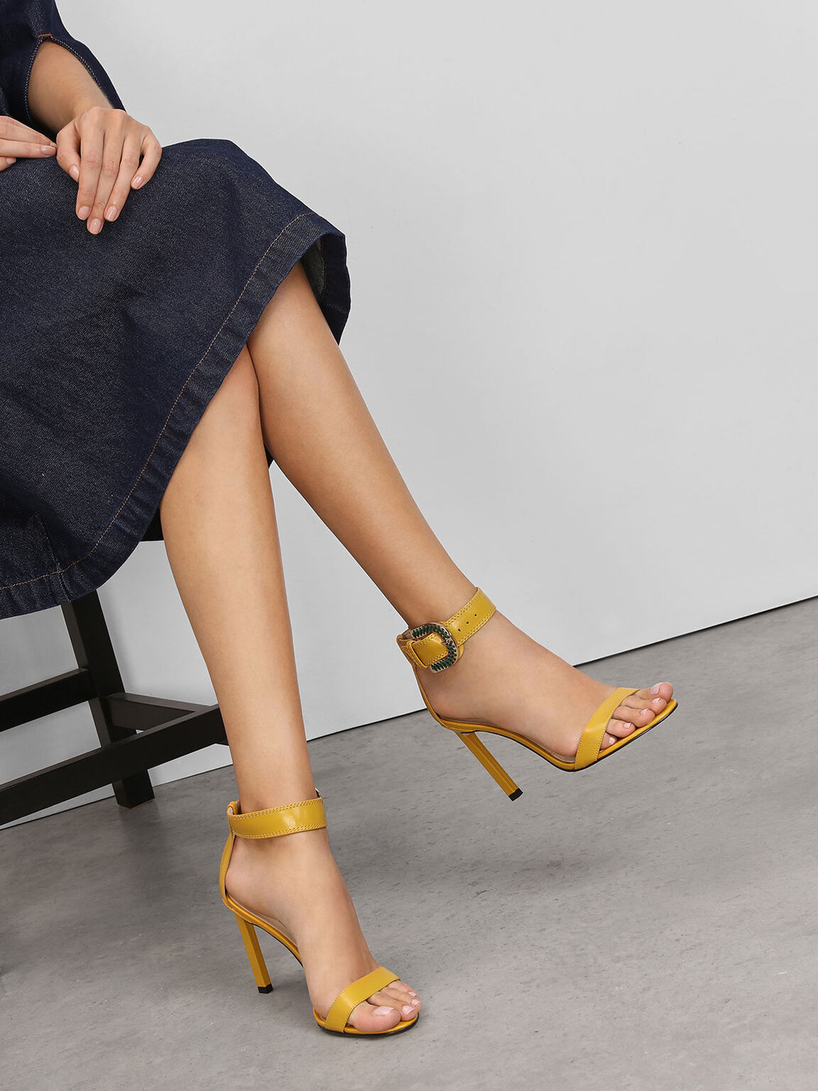 Leather Stitch Detail Buckle Ankle Strap Sandals, Yellow, hi-res