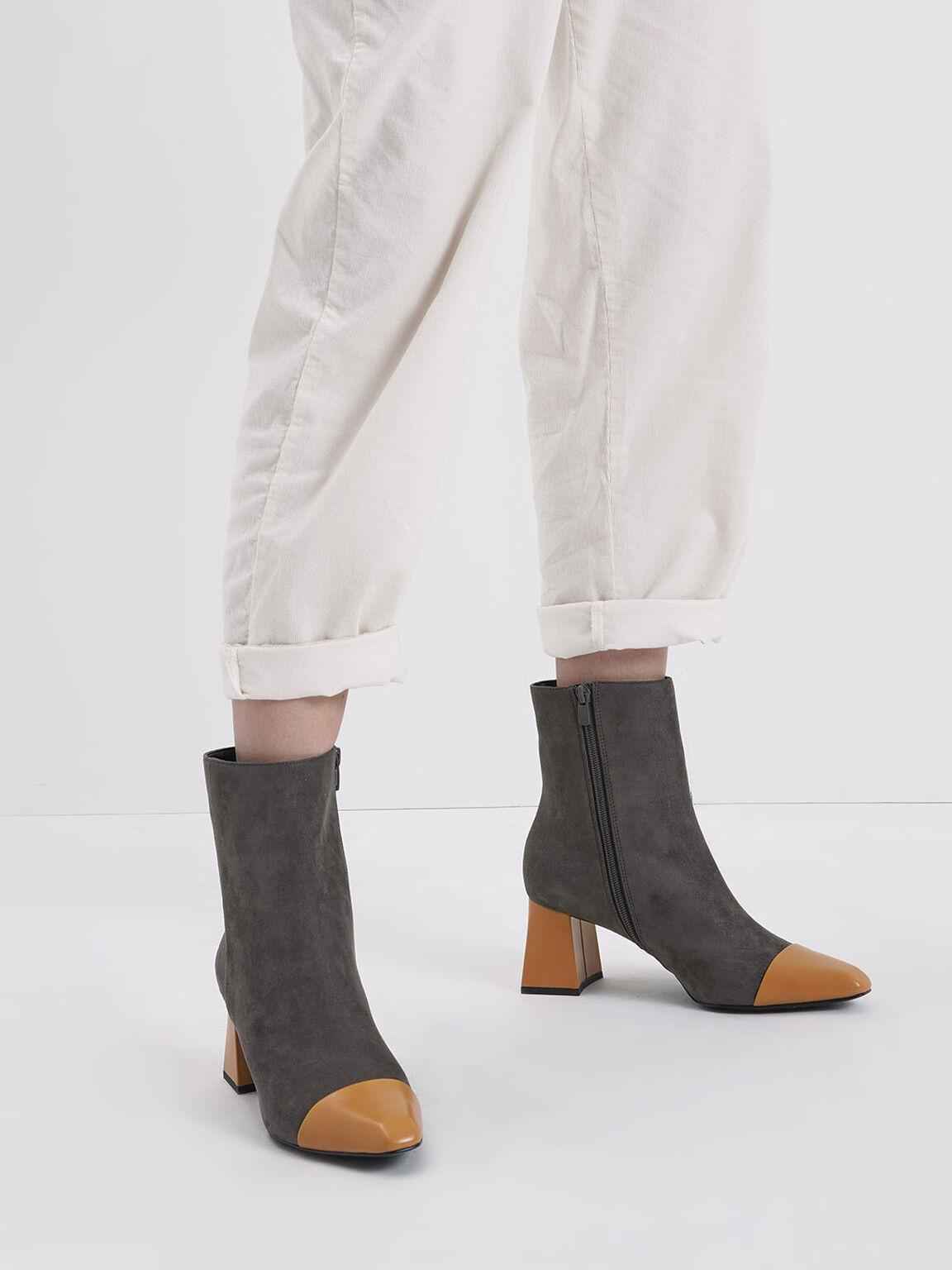 Two-Tone Textured Calf Boots, Dark Grey, hi-res