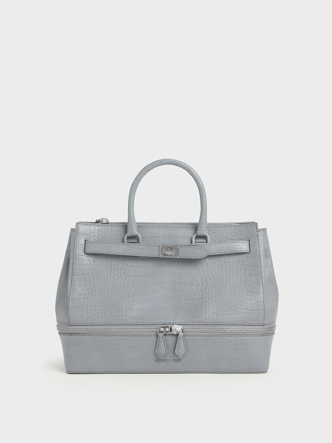 Large Croc-Effect Two-Way Zip Tote Bag, Grey, hi-res