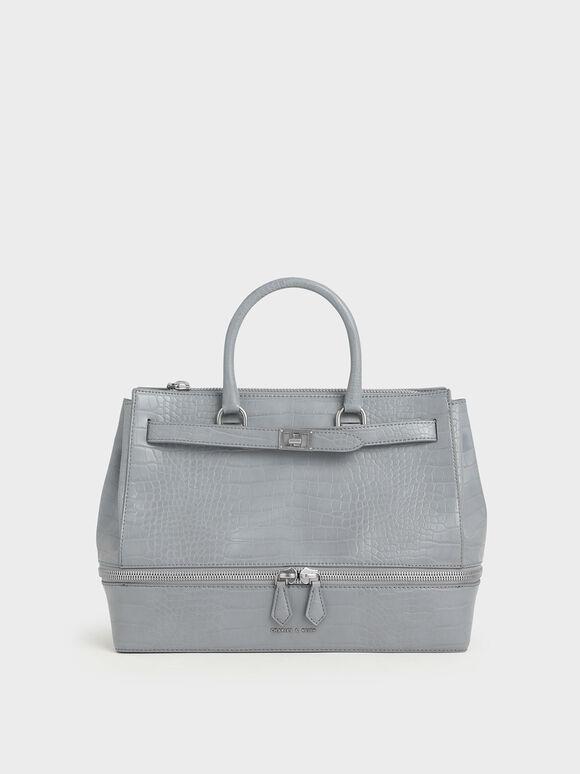 Large Croc-Effect Two-Way Zip Tote Bag, Grey, hi-res