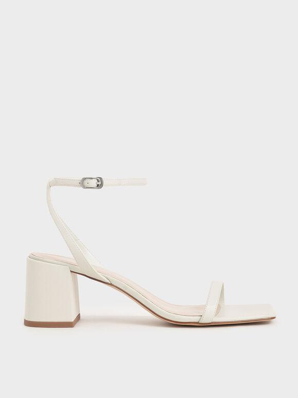 Asymmetrical Ankle Strap Sandals, White, hi-res