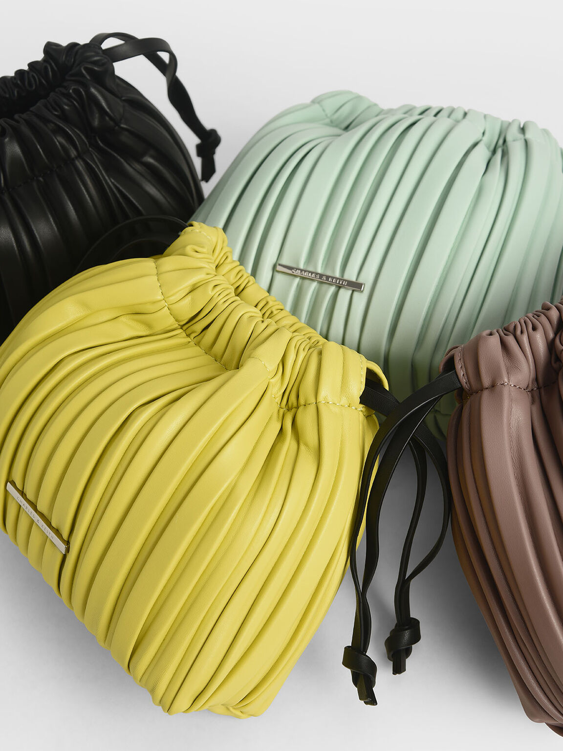Pleated Drawstring Bag, Yellow, hi-res