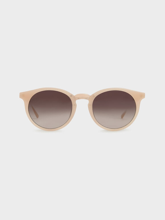 Round Acetate Sunglasses, Pink, hi-res