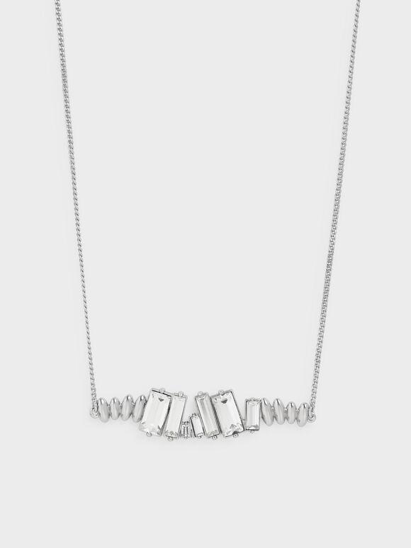 Swarovski® Crystal Embellished Matinee Necklace, Silver, hi-res