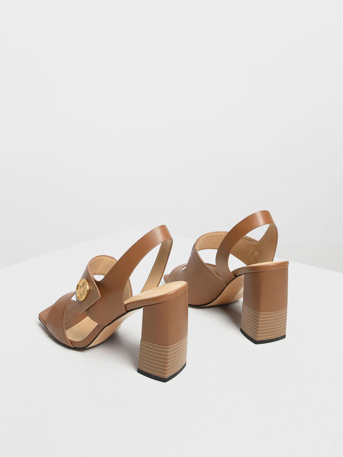 金屬點綴粗跟鞋, 咖啡色, hi-res