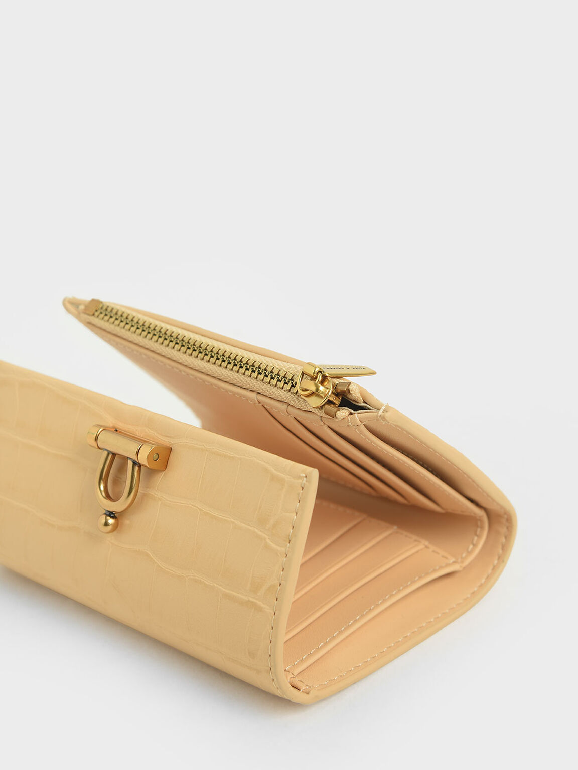 Croc-Effect Metal Accent Mini Short Wallet, Yellow, hi-res