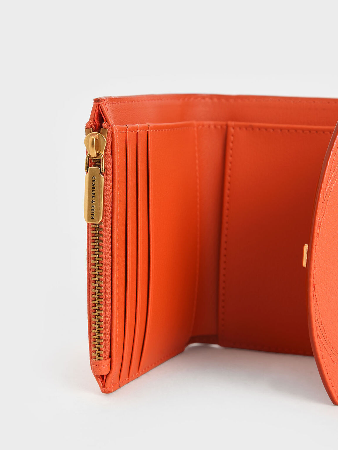 Push-Lock Mini Wallet, Orange, hi-res