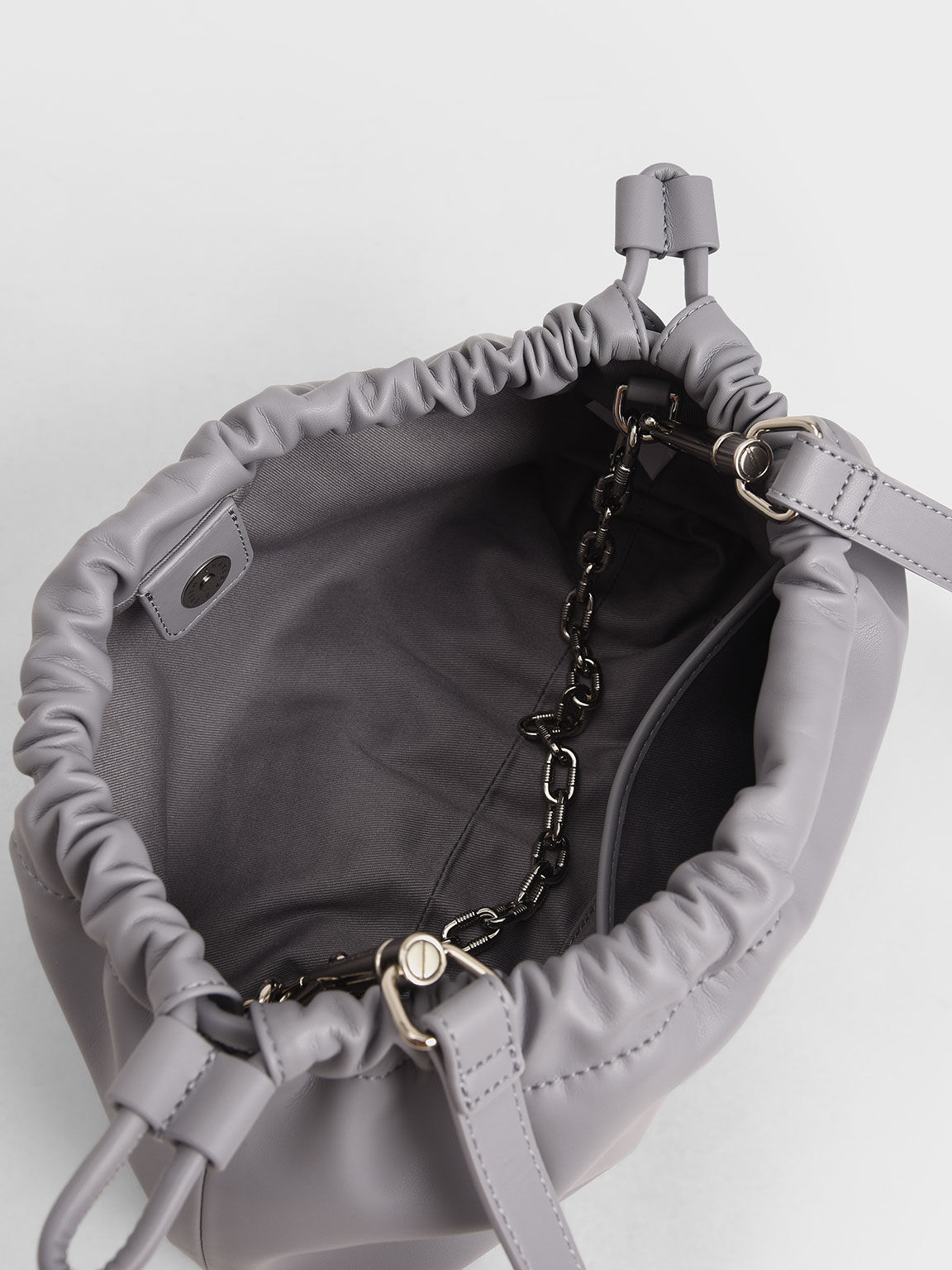 Chain Handle Drawstring Clutch, Lilac, hi-res