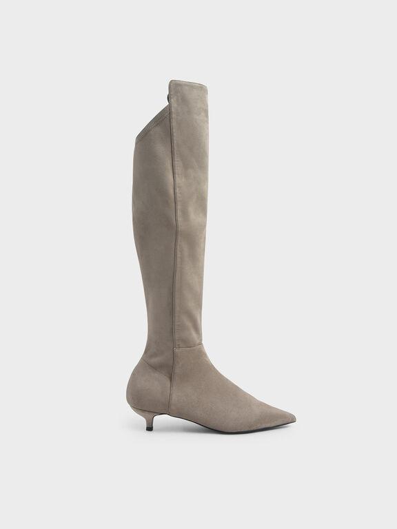 Textured Kitten Heel Knee High Boots, Taupe