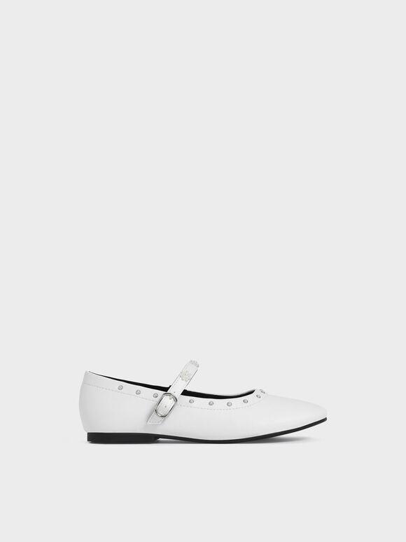 兒童珍珠花朵瑪莉珍鞋, 白色, hi-res