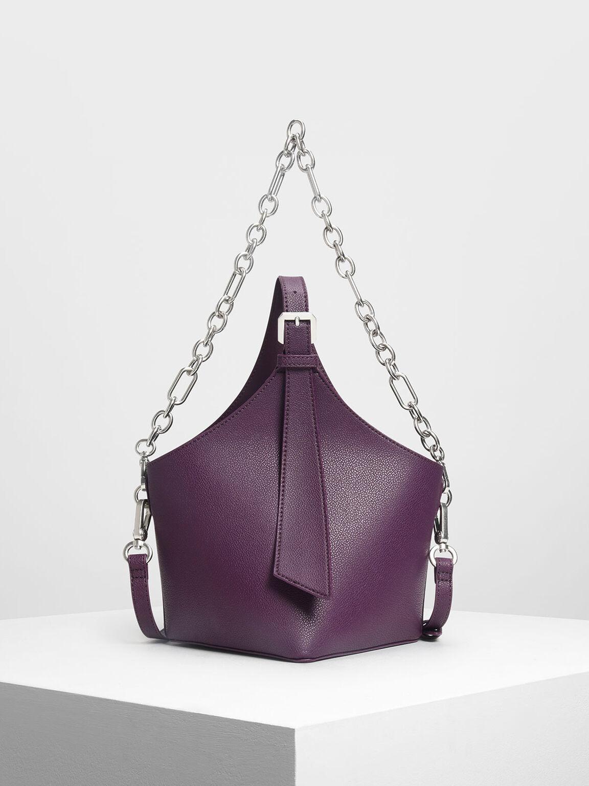 Elongated Strap Bucket Bag, Purple, hi-res