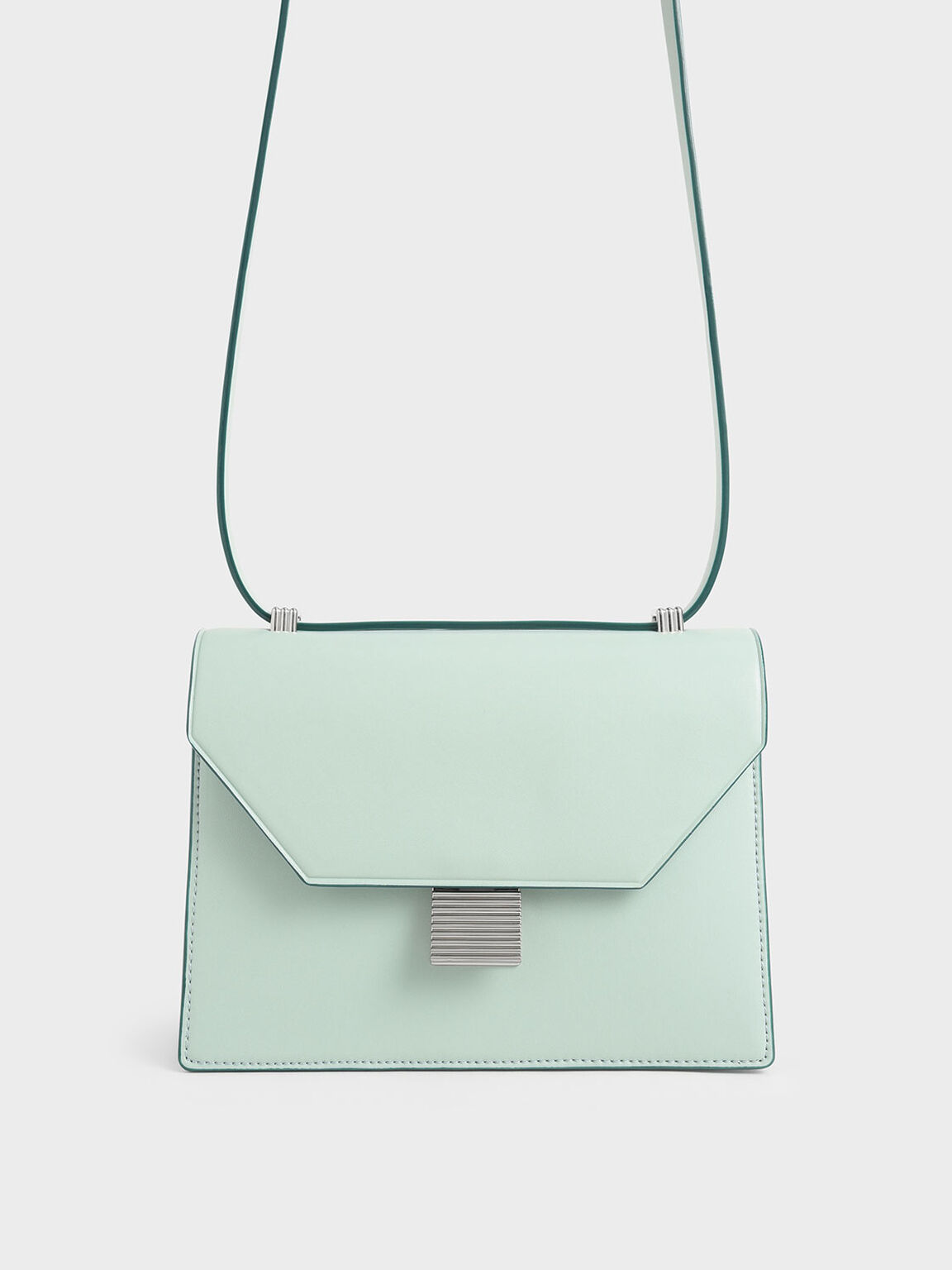 Metal Accent Crossbody Bag, Mint Green, hi-res