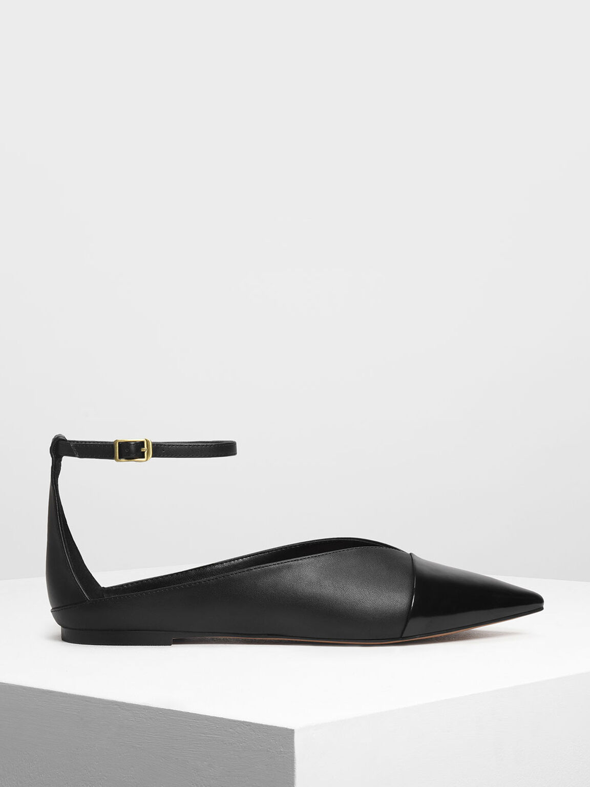 Pointed Toe Ankle Strap Flats, Black, hi-res