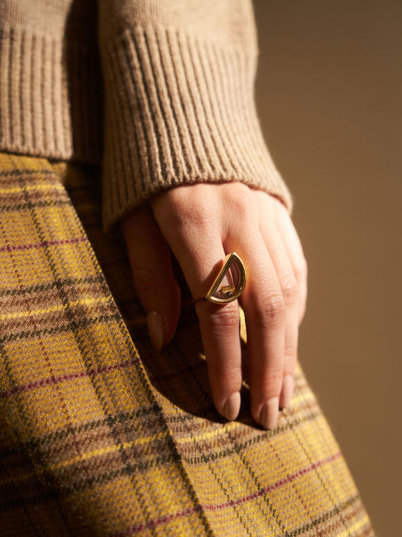 Semi-Circle Floating Locket Ring, Gold, hi-res
