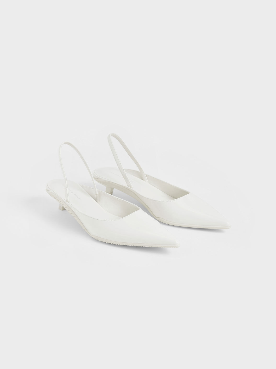 Pointed Toe Slingback Pumps, White, hi-res
