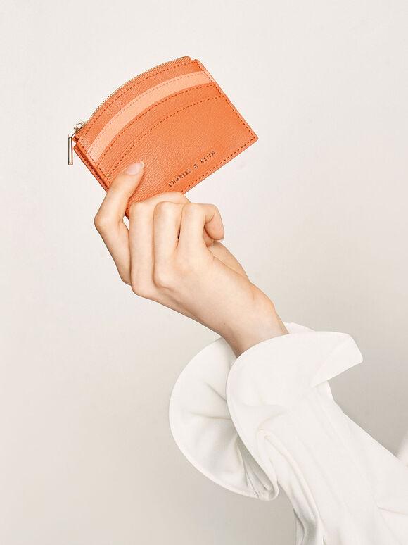 Two-Tone Multi-Slot Zip Card Holder, Orange, hi-res