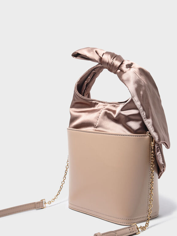 Bow Detail Handle Bucket Bag, Nude