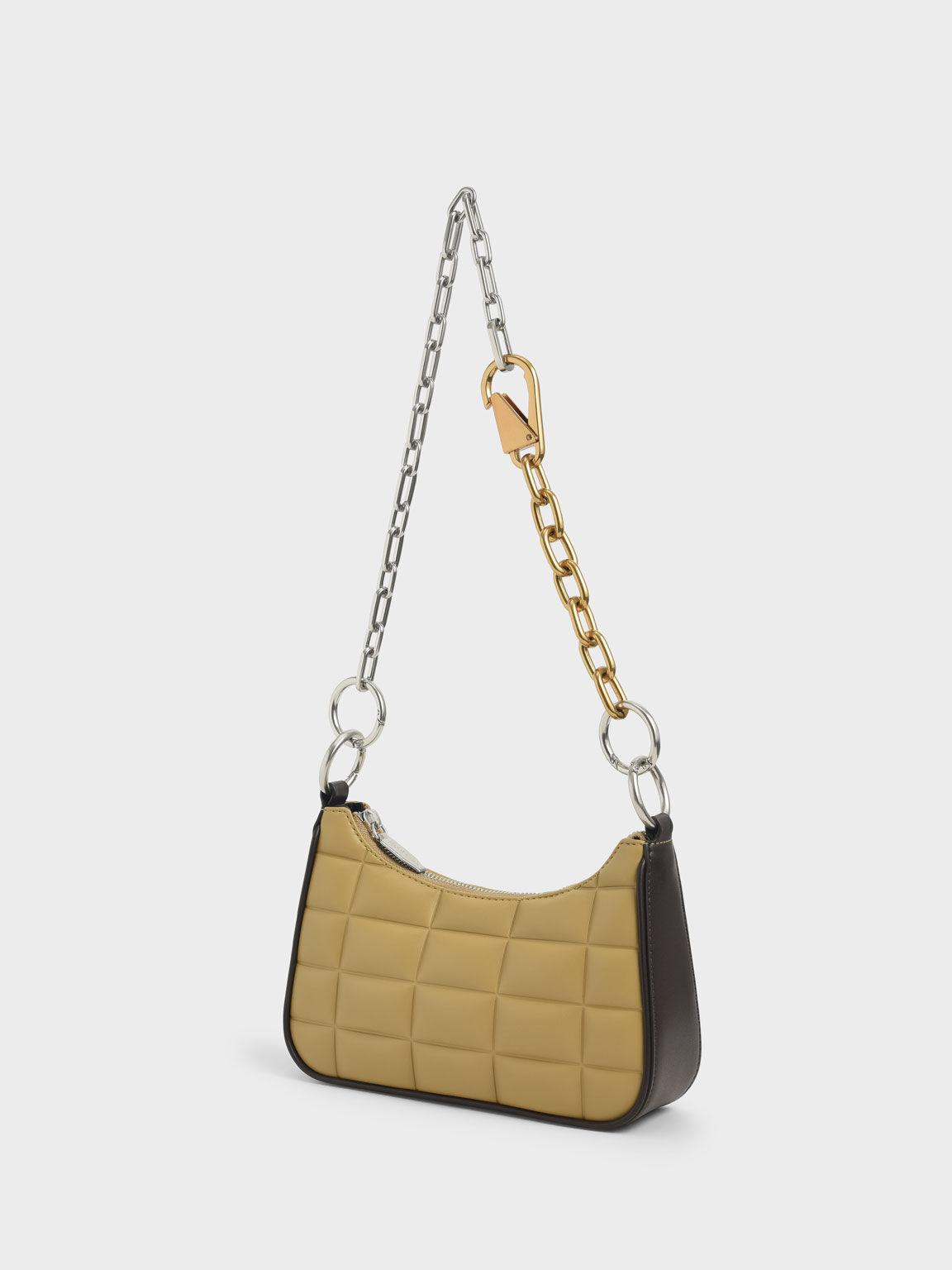 Quilted Chain Shoulder Bag, Sand, hi-res