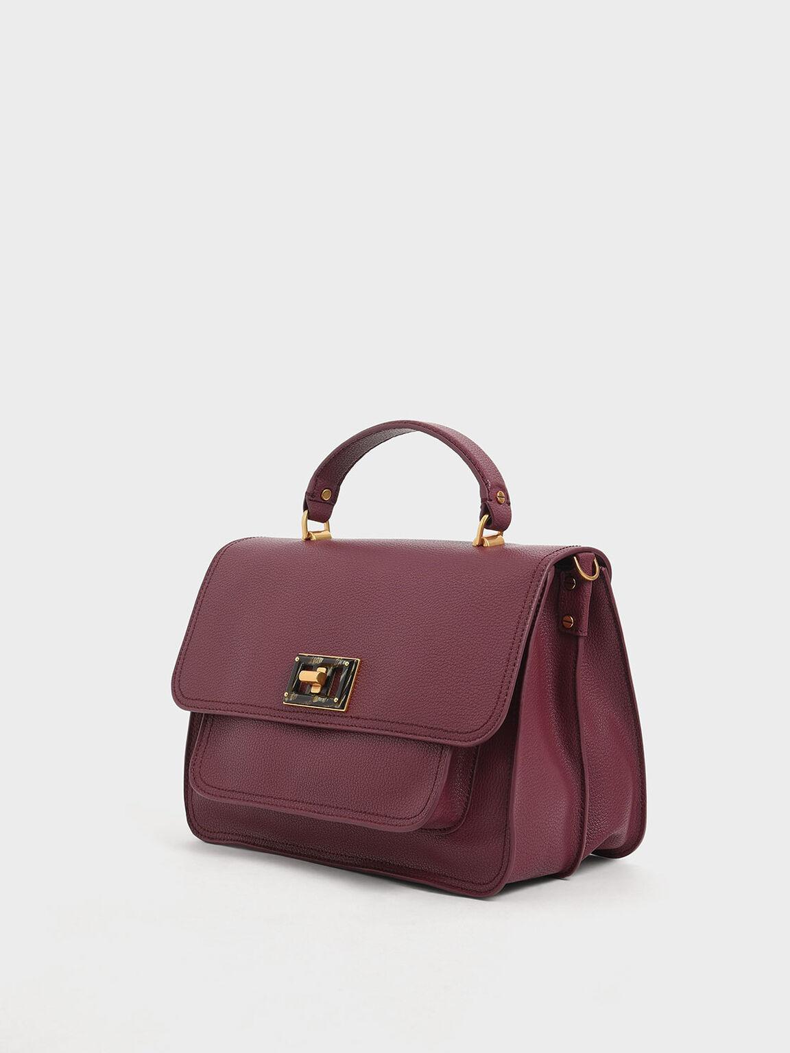 Large Resin-Effect Buckle Bag, Burgundy, hi-res