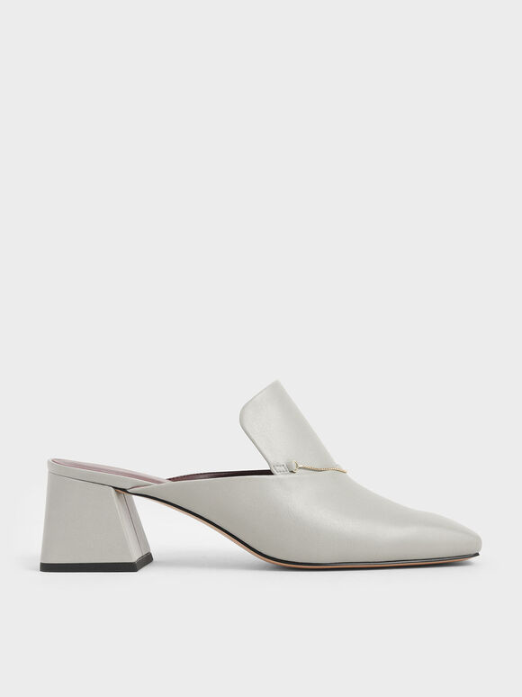 Chain Link Loafer Mules, Chalk, hi-res