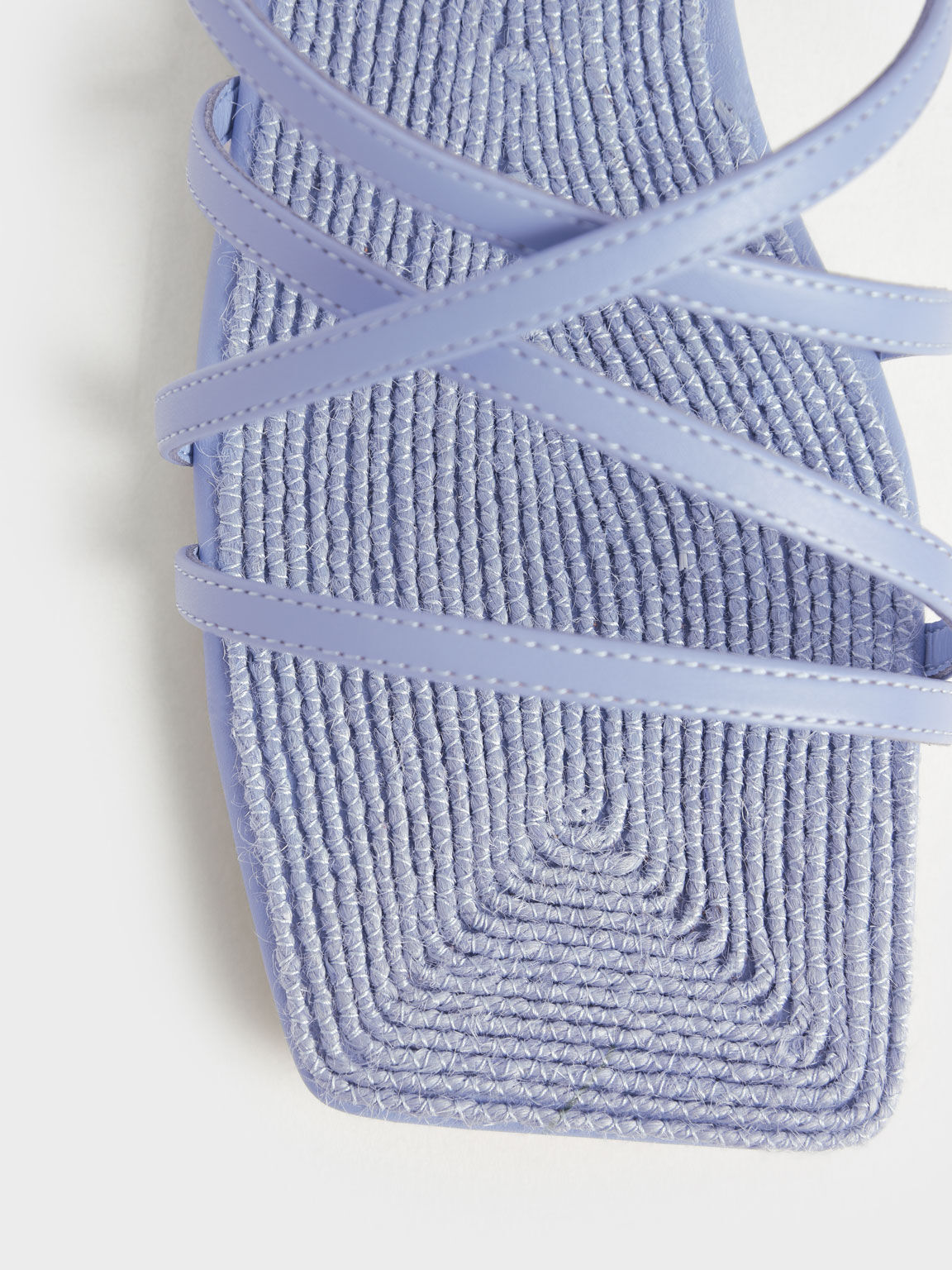 交叉帶草編方頭拖鞋, 藍色, hi-res