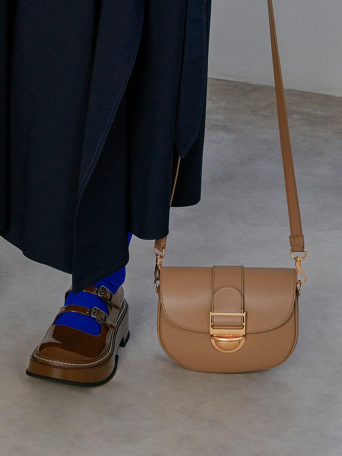 Amelia Metallic Push-Lock Crossbody Bag, Brown, hi-res