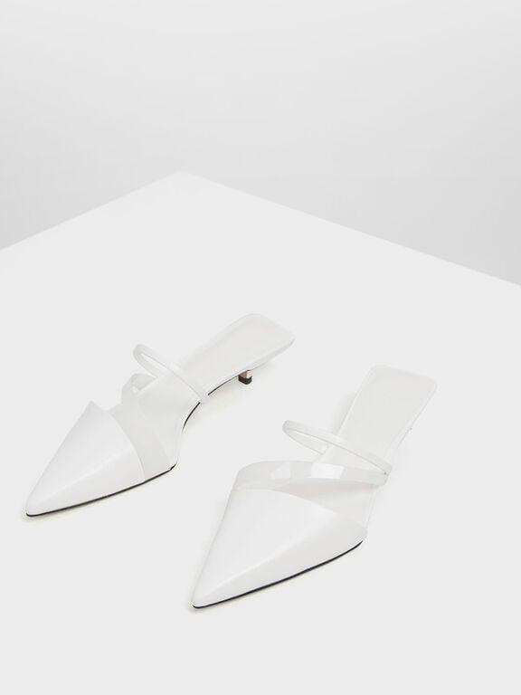 Asymmetrical Kitten Heel Mules, White