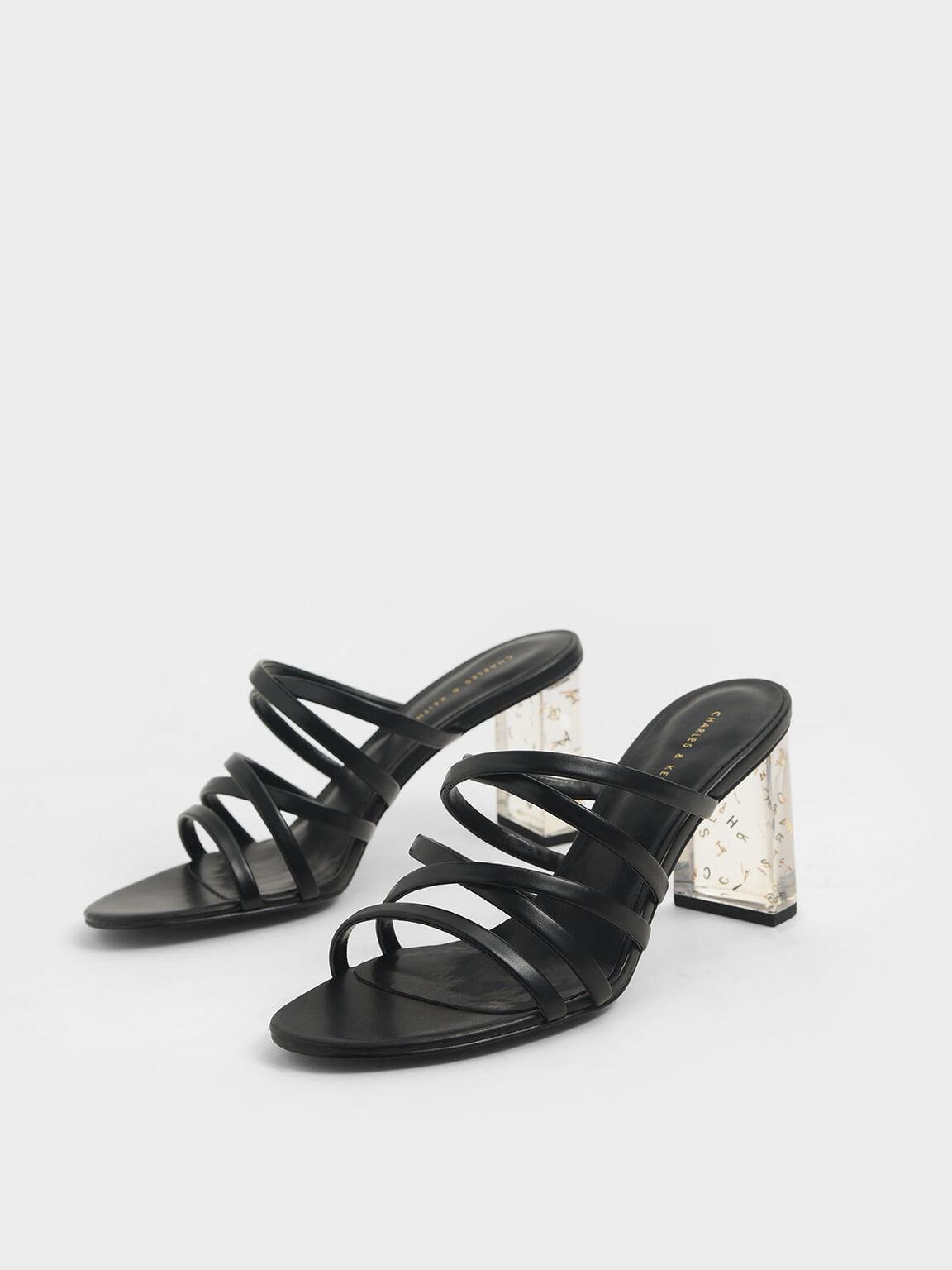 Strappy Lucite Heel Mules, Black, hi-res