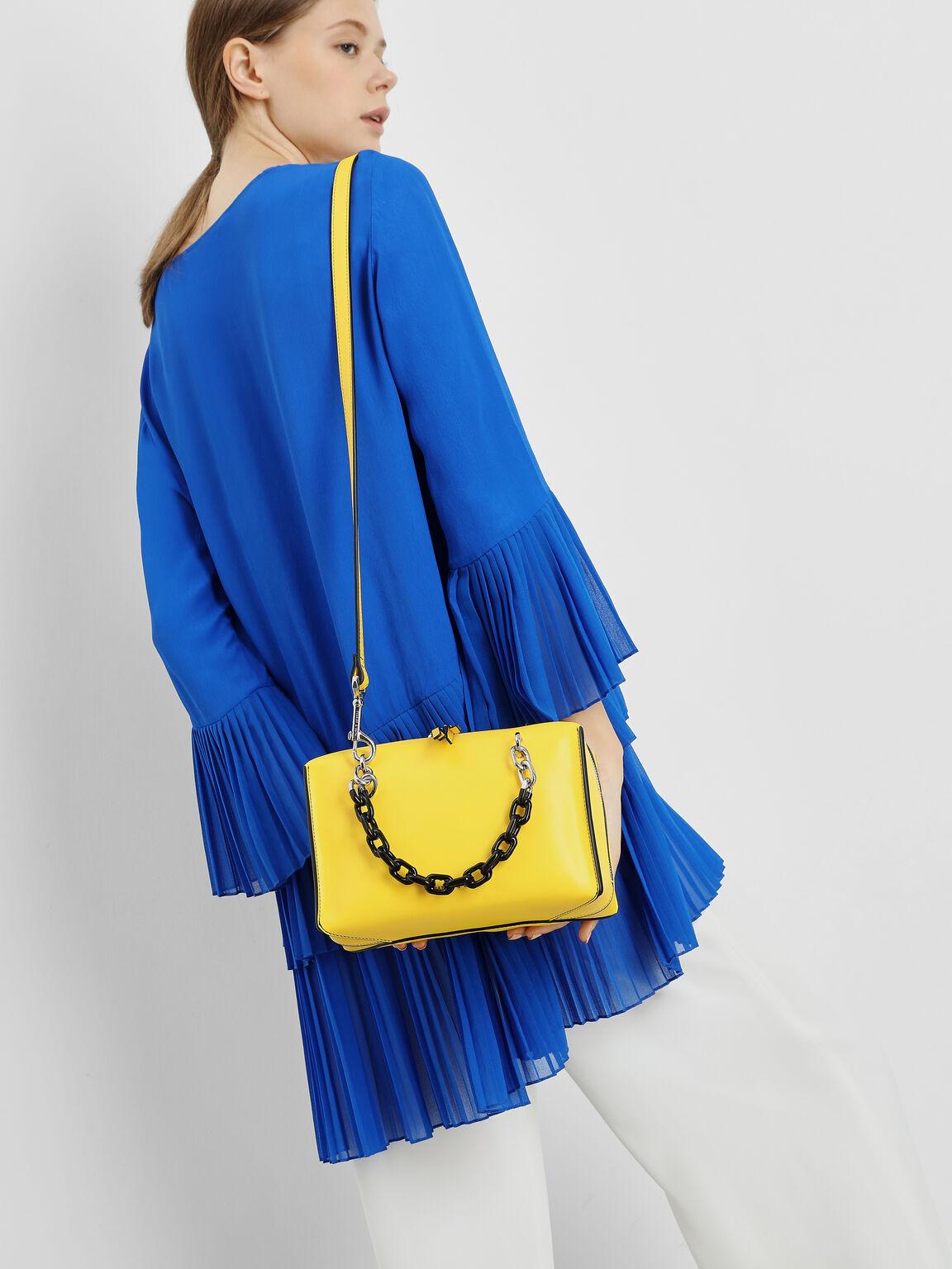 Double Chain Handle Bag, Yellow, hi-res