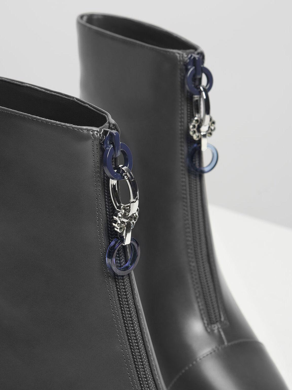 Zipper Calf Boots, Grey, hi-res